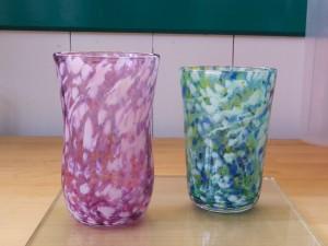 吹きガラス体験/斑色ペアグラス